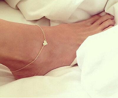 Sexy Women's Gold Heart Ankle Bracelet Barefoot Sandal Beach Foot Chain Jewelry