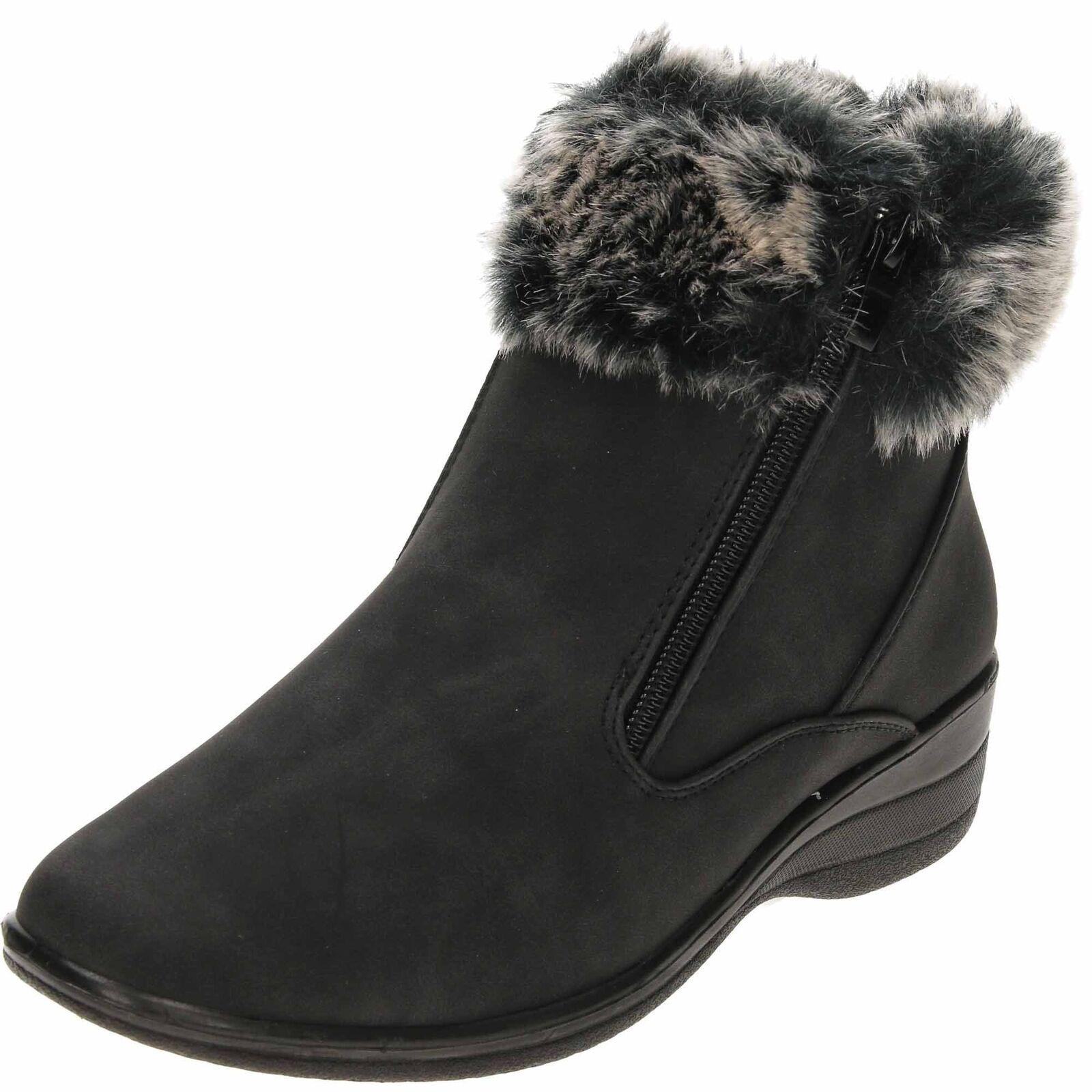 Dr Keller Warm Twin Zip Wedge Heel Ankle Boots Black Comfy Lightweight