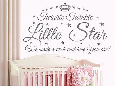 Twinkle Star Heart Quote Wall Stickers Home Decor Kids Nursery Baby Room T7