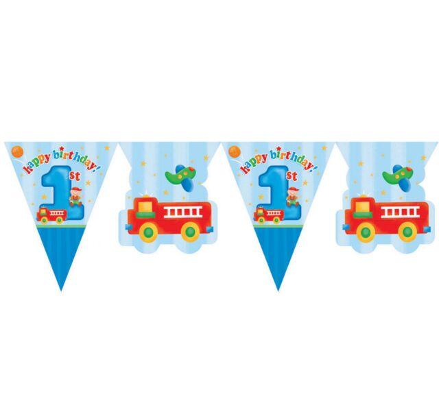 FUN BOYS 1ST BIRTHDAY FLAG / PENNANT BANNER  FUN AT 1 BOY AGE 1 PARTY RANGE