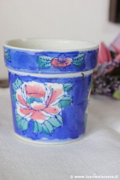 Ordenado Pequeño Cache Pot Vintage En Cerámica Decorado A Mano H Cm 7,5 - Florero - Tarro A Cualquier Costo