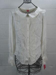 New-Douglas-Hannant-White-Silk-Lace-Trim-Button-Down-Shirt-Blouse-Size-12-NWT