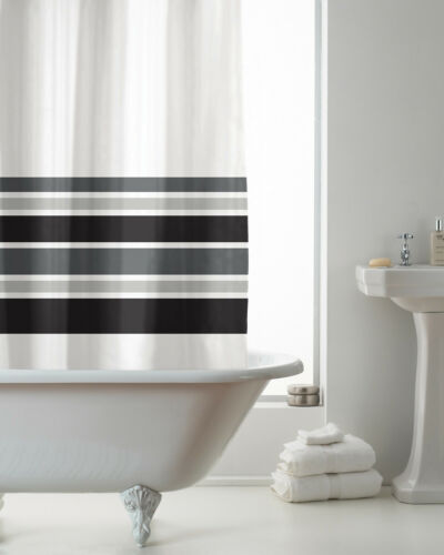 Black Stripe Bathroom Accessories Decor Country Club Hookless Shower Curtain