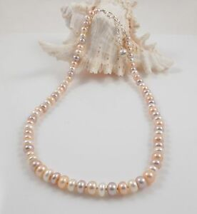 Multicolour Oval Freshwater Pearl Necklace & Sterling Silver Clasp 2''Chain