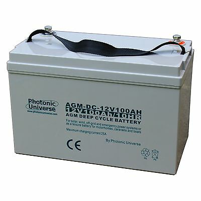 100Ah 12V Deep Cycle AGM Domestic Battery for Camper Caravan Boat Leisure Solar