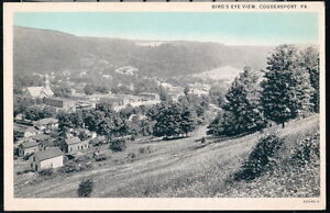 COUDERSPORT-PA-Vintage-Bird-039-s-Eye-Aerial-Town-View-Old-B-amp-W-Blue-Sky-Postcard-PC