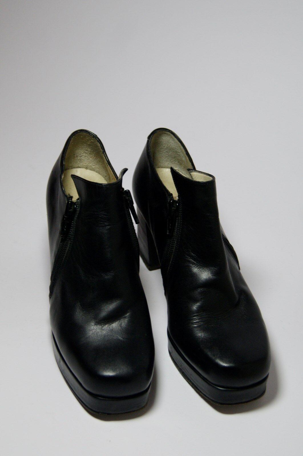 Alfonso Garlando Edel Plateau Pumps Stiefel Schuhe Absatz 70 mm Leder schwarz