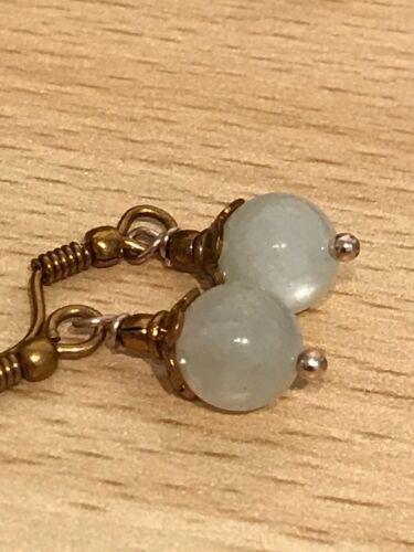 Bolas de piedra Preciosa Semi /& tapón del grano pendientes en bronce plateado alambres de oreja