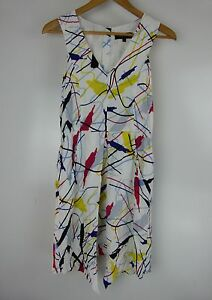 OXFORD-WOMEN-Dress-Sz-8-White-Red-Black-Blue-Yellow-Print