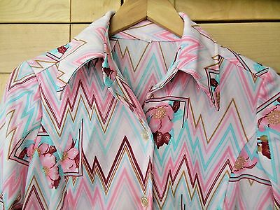 Vintage Mod Women's Pink Zig Zag Floral Polyester Long Sleeve Disco Blouse 10