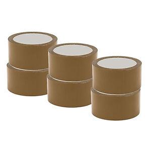 x6-NASTRI-ADESIVI-DA-IMBALLO-AVANA-50-mm-x-66-mt-imballaggio-cartoni-PAN