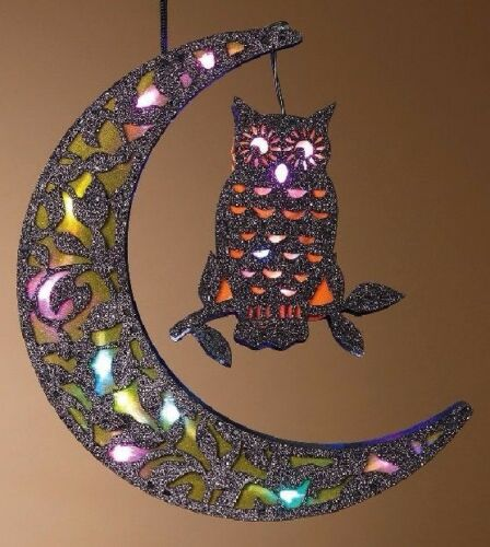 """11.3/"""" HANGING B//O COLOR CHANGING LIGHTED BLACK GLITTERED HALLOWEEN MOON w//OWL"""