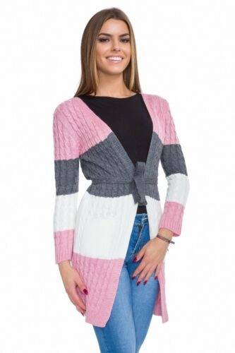 Womens Warm Cardigan Long Sleeve with Belt Casual Sweater with Pockets WA83