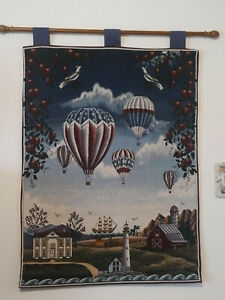 Details About Euc Hot Air Balloon Decorative Wall Tapestry With Hanging Rod 35 X 26