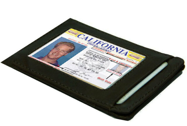 BLACK GENUINE LEATHER THIN MEN ID Credit Card Flat Wallet Slim Holder