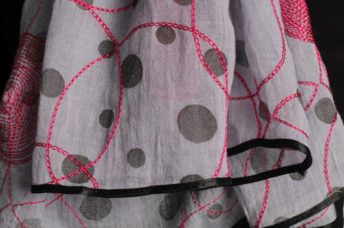 Red Sewn On Circles On Grey  Unisex Scarf SF001417