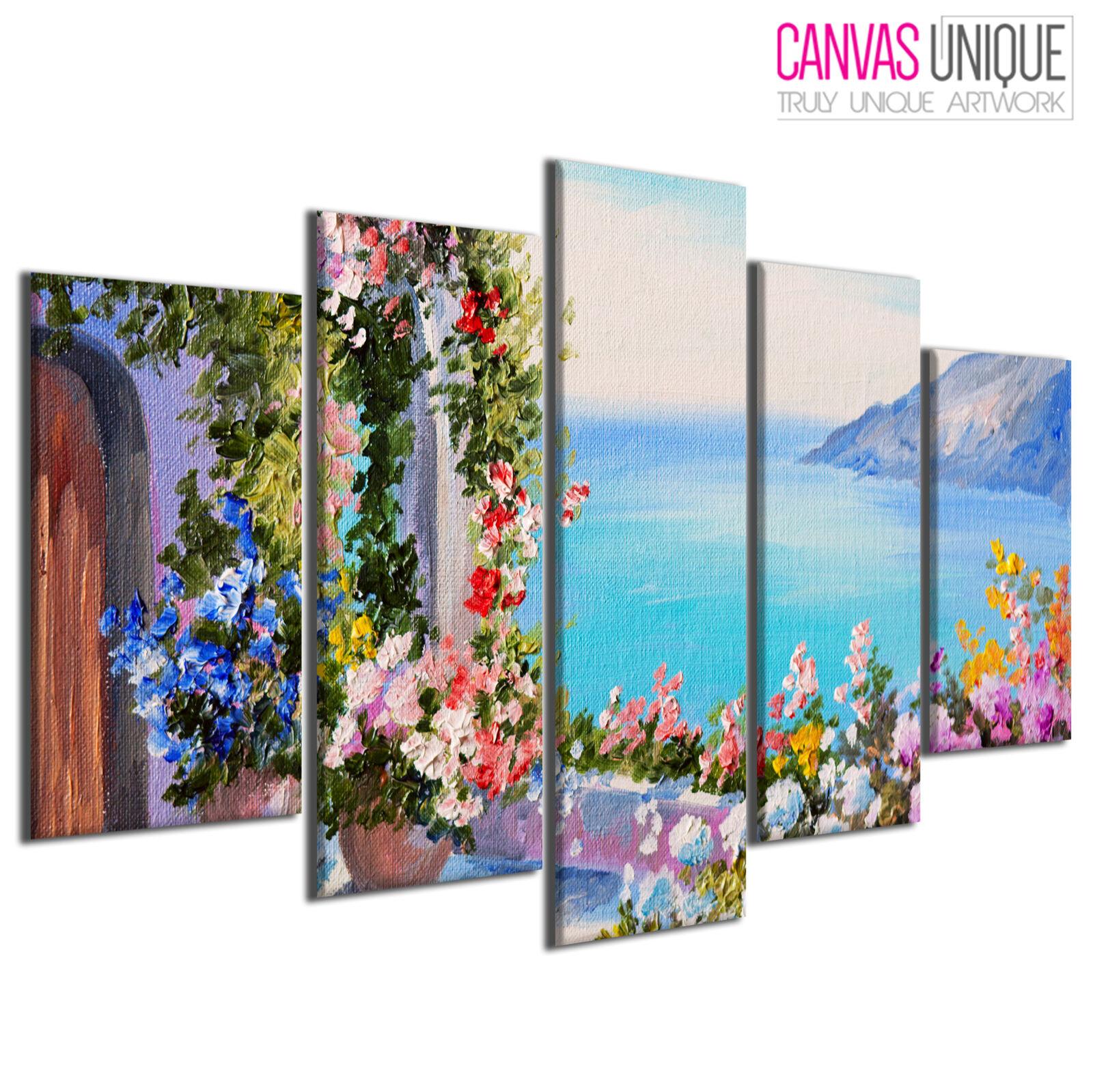 PC530 Ocean View Balcony Flower Paint Scenic Multi Frame Canvas Wall Art Print