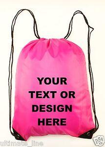 63eceac9002e Personalised Pink Drawstring Bag Sack Gym PE Swim Gym School Print  Waterproof