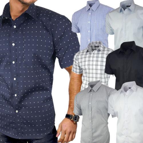 Mens Short Sleeve Shirt Formal Casual Cotton Stripe Check Plain S 4XL Plus Size
