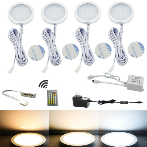 AIBOO LED Under Cabinet Puck Light CCT Light Warm+White Colors Remote Controller