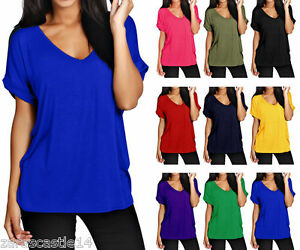New-Ladies-Women-039-s-V-Neck-Top-Turn-Up-Short-Sleeve-Baggy-Loose-T-Shirt-Size-8-30