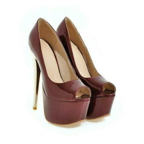 Details about  /Womens Patent Leather Platform Open Toe Slip On Super High Slim Heel Shoes 34-48
