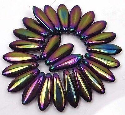 25 Czech Glass Dagger Beads - Iris - Purple  16mm