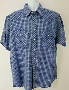 Wrangler-Men-039-s-Western-Shirt-Sz-XXL-2XL-Blue-Plaid-Pearl-Snap-Casual-Button-Down