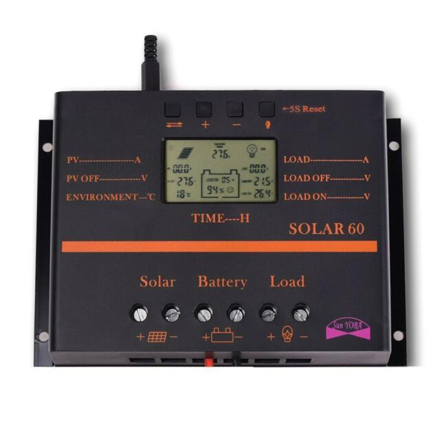 60A LCD Solar Battery Regulator Charge Discharge Controller 12V 24V With USB GL