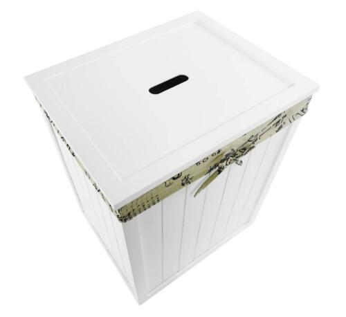 White Wooden Lidded Linned Bedroom Bathroom Storage Washing Laundry Basket Bin
