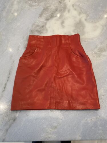 100% AUTH CHANEL VINTAGE HIGH WAISTED RED LEATHER