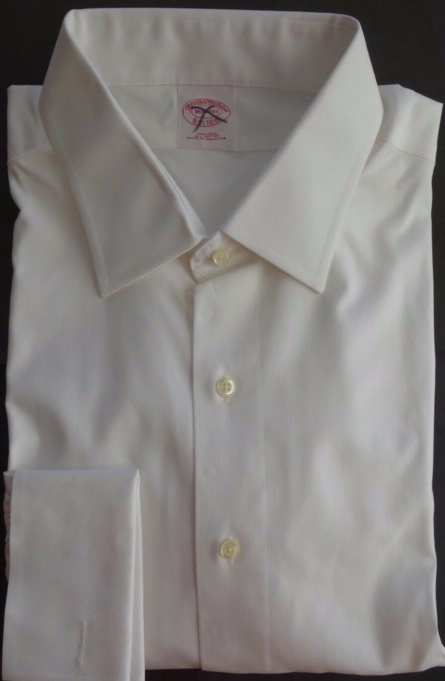 NWT Brooks Bredhers Non Iron White Point Collar Shirt 17-33 MSRP
