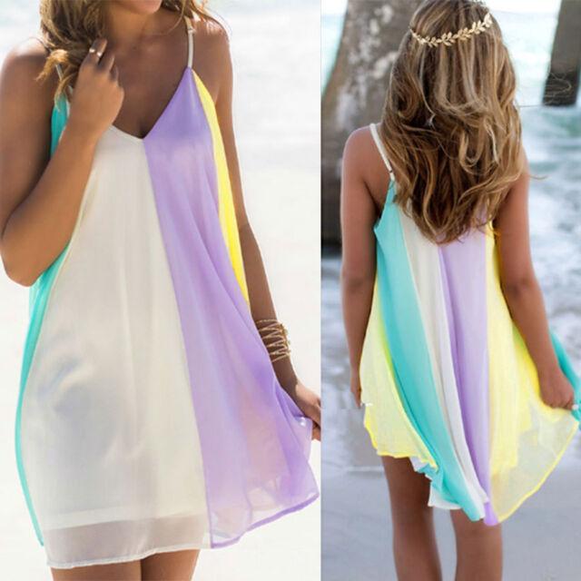 Boho Women New Chiffon Rainbow Summer Beach Casual Vest Top Skirt Dress Size SML