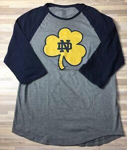 National-Collegian-Notre-Dame-Men-s-Size-SMALL-3-4-Sleeve-Raglan-Shirt-Tee