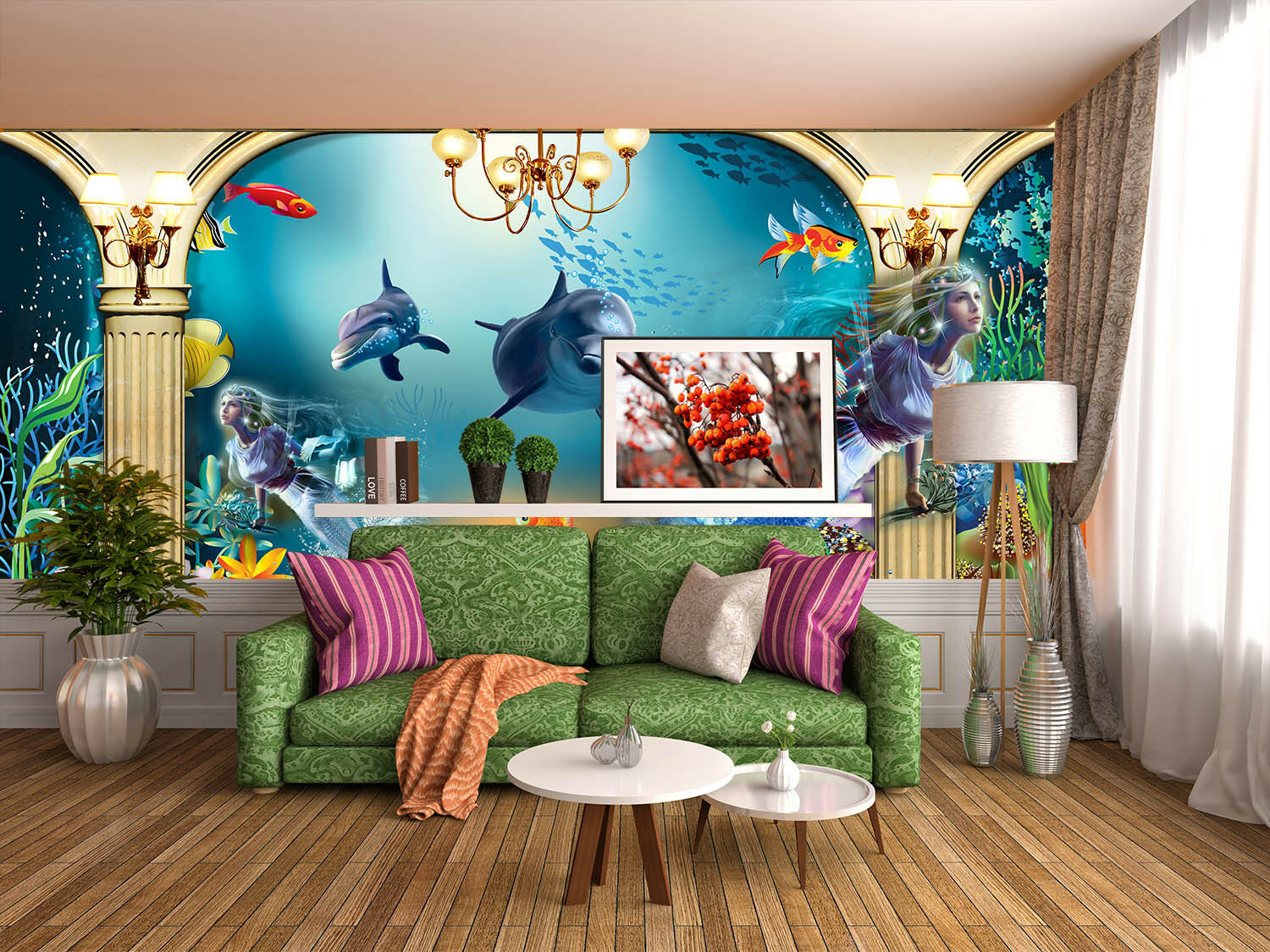 3D Dolphin Sea 4020 Wallpaper Murals Wall Print Wallpaper Mural AJ WALL UK Lemon