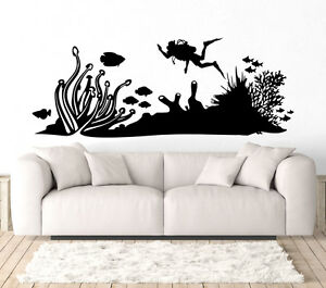 Image is loading Scuba-Diving-Wall-Art-Decal-Vinyl-Sticker-Decor-  sc 1 st  eBay & Scuba Diving Wall Art Decal Vinyl Sticker Decor Mural Sea Ocean ...