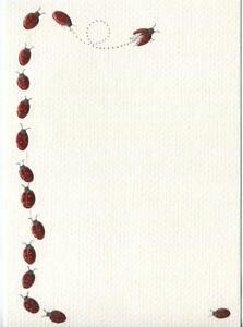 VINTAGE EMBOSSED RED METALLIC LADY BUGS LADYBUGS INSECTS LITHOGRAPH ART PRINT