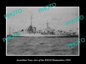 OLD-LARGE-HISTORIC-PHOTO-OF-AUSTRALIAN-NAVY-SHIP-HMAS-DIAMANTINA-c1950