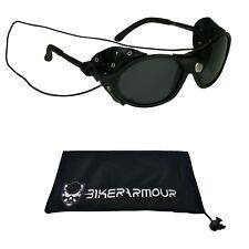 dab224fcff0 GLACIER POLARIZED SUNGLASSES Leather Side Shields Ski Mountain Climbing  Glasses