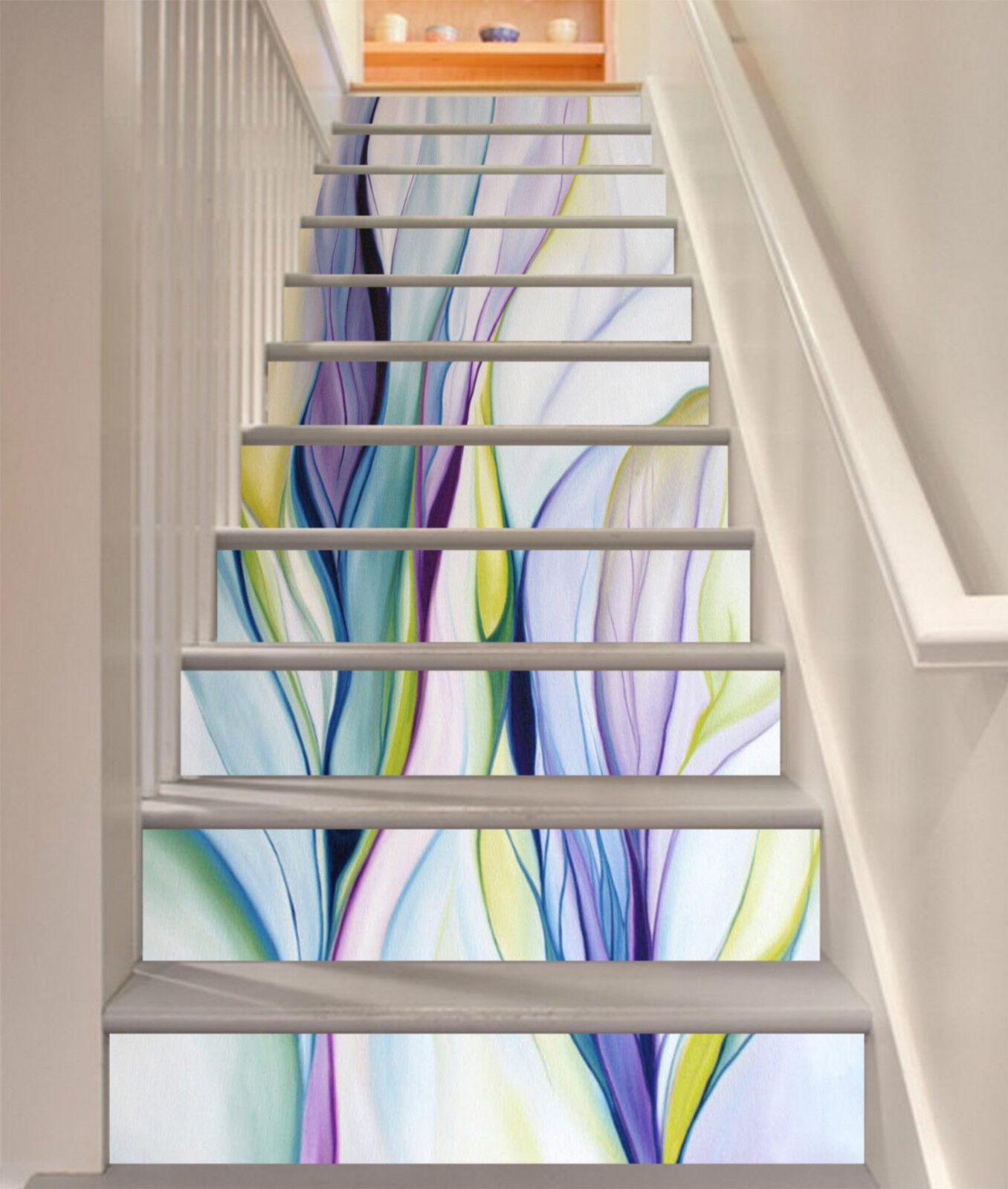 3D Farbe Seide 079 Stair Risers Dekoration Fototapete Vinyl Aufkleber Tapete DE