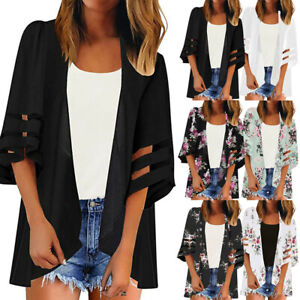 Women-Mesh-Panel-3-4-Bell-Sleeve-Floral-Chiffon-Tops-Loose-Kimono-Cardigan-New