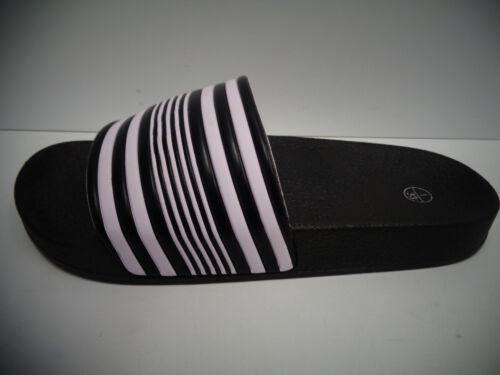 Boys Spot On Black//White Striped Slip On Mules Sliders N0R048