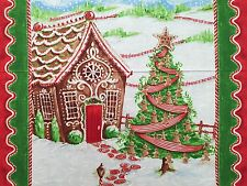 """24"""" Fabric Panel ~ Windham Gingerbread House Traditional Christmas Candy Canes"""