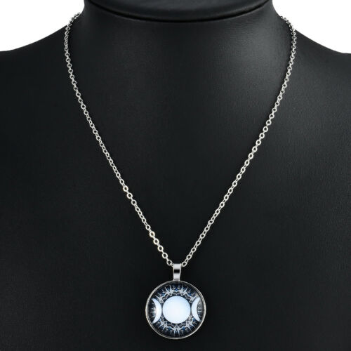 Triple Goddess Moon Necklace Witchcraft Wiccan Jewelry Pagan Art Glass Pendant