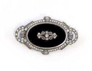 9901596-925er-Silber-Art-deco-Brosche-mit-Onyx-u-Swarovski-Steinen-L4-5cm