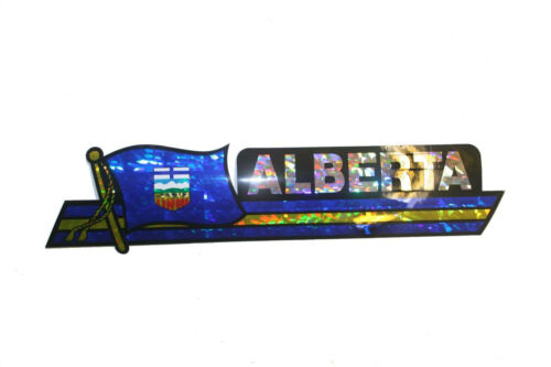 ALBERTA  CANADA PROV 11.75 X 3 INCH FLAG  Metallic LONG Bumper STICKER Decal .