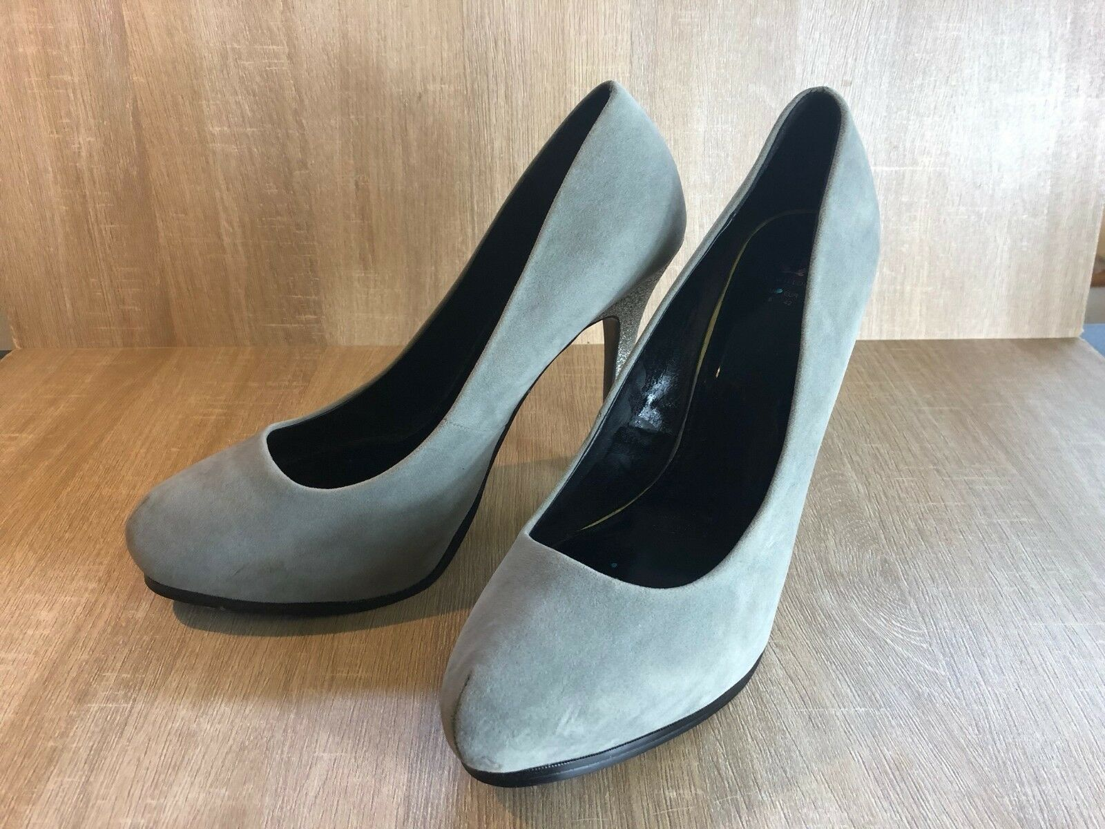Holly Willoughby High Stiletto Suede Platform Grey Sparkly Heels Suede Stiletto Shoes fc9d40