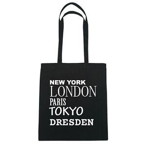 New York, London, Paris, Tokyo DRESDEN - Jutebeutel Tasche - Farbe: schwarz