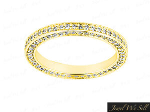 0-72Ct-Round-Diamond-Wedding-Eternity-Band-Ring-w-Accents-14k-Yellow-Gold-G-SI1