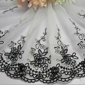 Lace-Trim-Ribbon-Floral-Embroidered-Tulle-Scalloped-Mesh-Sewing-Craft-Rose